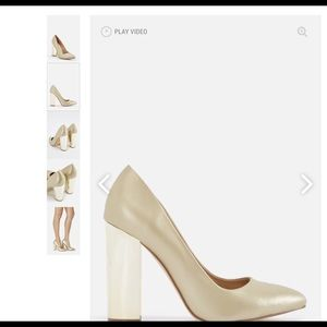 Champagne pumps gold heel